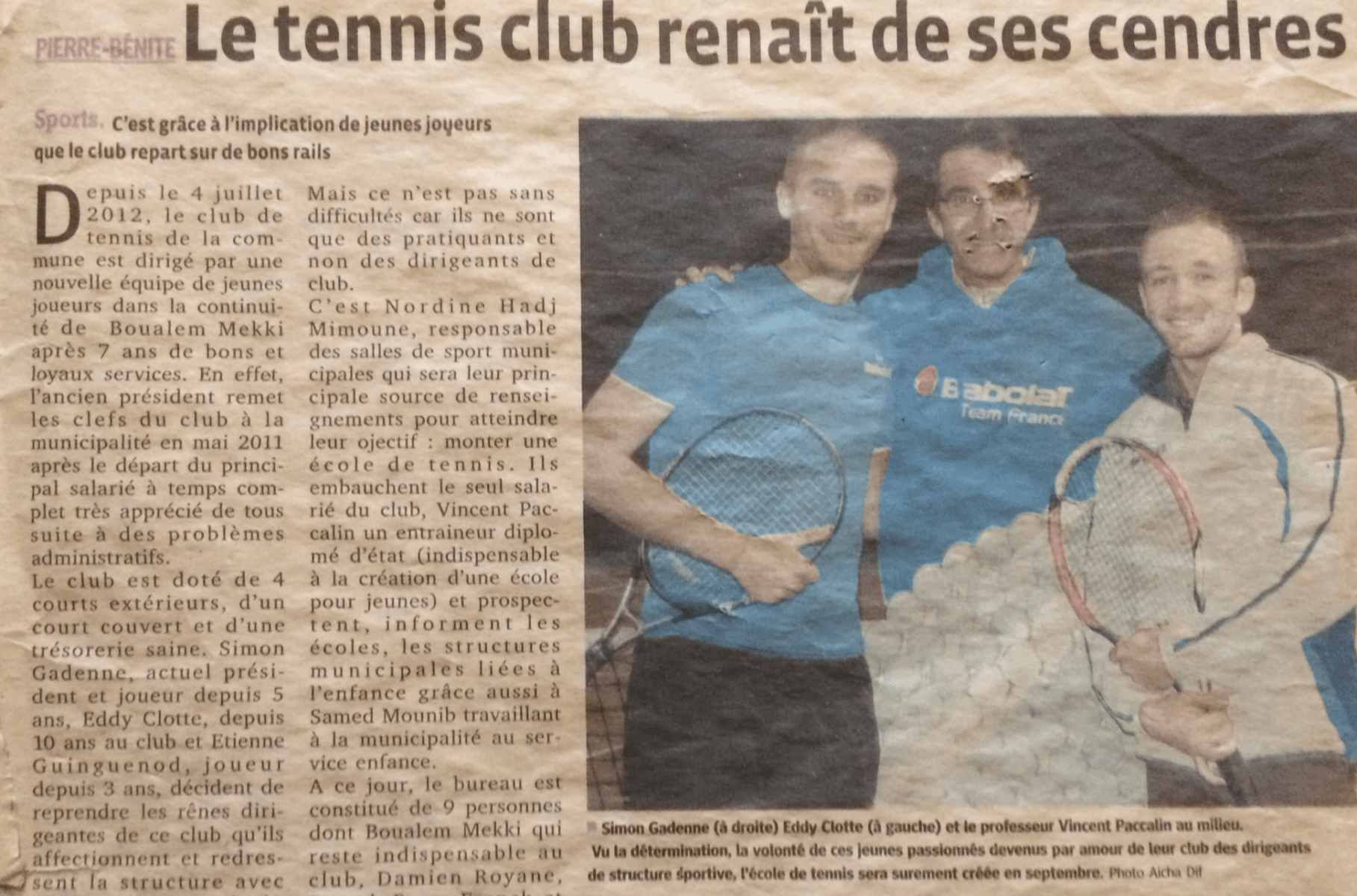 Reprise Gadenne-Paccalin-Clotte - Tennis Club de Pierre Bénite